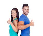Paar fitness freunde sagen ok — Stockfoto