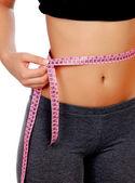 Cintura de mujer con cinta métrica — Foto de Stock