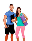 Handsome personal trainer with a attractive girl — Stock Photo