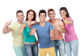 Happy group of friends saying Ok — Stock Photo