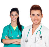 Attractive couple of doctors — Stock Photo