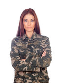 有魅力的女孩,与军事风格夹克 — 图库照片