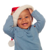 Adorable african baby with Christmas hat — Stock Photo