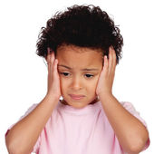 Sad little girl with head ache — Stock Photo