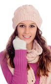 Beautiful girl with wool hat and scarf — Stock Photo