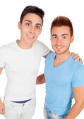 Two handsome brothers with casual dress — Stock Photo