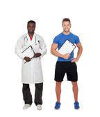 Healthy soport. Personal trainer and african doctor — Stock Photo