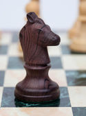 The knight. Wooden chess piece — Stock Photo