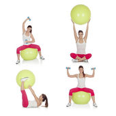 Sequence beautiful woman practicing sport sitting on a pilates b — Stock Photo