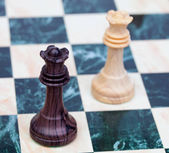 Two faced queens Wooden chess pieces  — Stock Photo