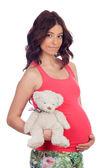 Gravid kvinna med en nallebjörn — Stockfoto
