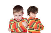 Two children with the same jersey angry — Stock Photo