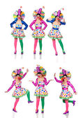 Sequence photos funny woman in clown — Stock Photo
