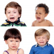 Photo collage of four children criyng — Stock Photo #47372875