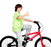 Boy standing on a bike  — Stockfoto