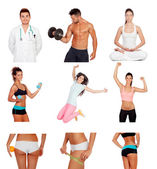Collage of healthy people practicing fitness — Stock Photo