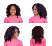 Sequence of photos of a pretty African American girl  — Stock Photo