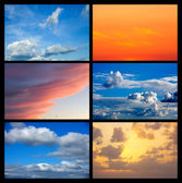 Collage of many images with sky — Stock Photo