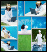 Collage of photos of women in the pool   — Stock Photo