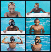 African child in the swimming-pool — Stock Photo