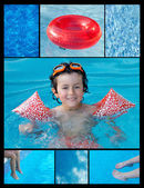 Collage of a child in the pool — Stock Photo