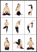 Young woman in a collage with various stretching postures — Stock Photo