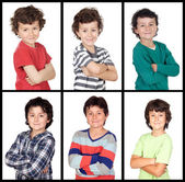 Collage of many images with the same child  — Stock Photo