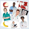Collage of many photos with doctors — Stock Photo #49053553