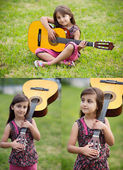 Three images of a beautiful girl with a guitar — Stockfoto