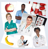 Collage of many photos with doctors  — Stok fotoğraf