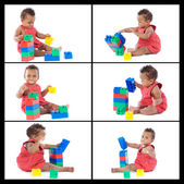 Collage beautiful baby playing with building blocks  — Stock Photo