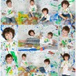 Photo Sequence of a fun painting session — Stock Photo #49800399