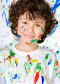 Funny child with painted face   — Stock Photo