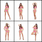 Sequence of images of a model with pink bikini  — Stock Photo