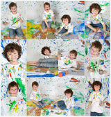 Photo Sequence of a fun painting session  — Stock Photo