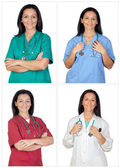 Four images of a pretty woman doctor — Stock Photo