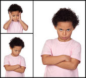 Three images of a little girl with gestures expressing negativit — Stock Photo