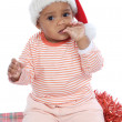 Baby girl with santa hat — Stock Photo #9430983