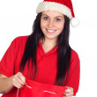 Attractive woman with Christmas hat — Stock Photo #9431538