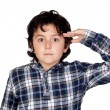 Adorable child with plaid t-shirt isolated — Stock Photo #9432312