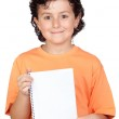 Nice child with blank notebook — Stock Photo #9432961