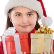 Beautiful girl with two presents of christmas — Stock Photo #9497340