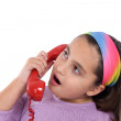 Beautiful girl with red telephone — Stock Photo #9497364