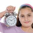 Beautiful girl with clock — Stock Photo #9497390
