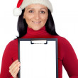 Beautiful girl with Christmas hat and a clipboard — Stock Photo #9507391