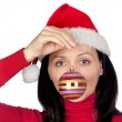 Beautiful girl with a red Christmas ball — Stock Photo #9507442