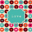 Scrap card with hearts and frame, love template background — Stock Vector #12135539