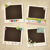 Scrap vintage set of photo frames — Stock Vector