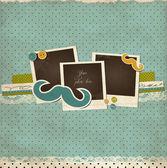 Mustache scrap card with photo frames — Stock Vector