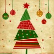 Royalty-Free Stock Vectorielle: Vintage Christmas card with tree and ornaments